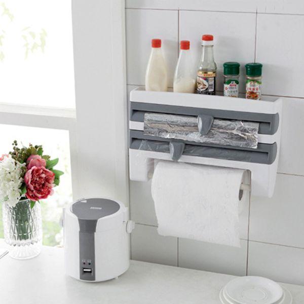New ABS Kitchen Roll Holder Kitchen Foil Film Wrap Tissue Paper Dispenser Rack Storage Shelf For Kitchen Bedroom Organization