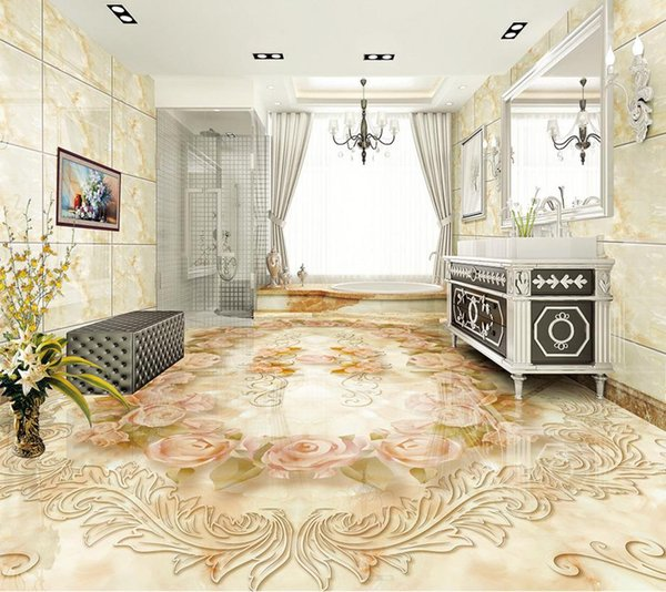 customize 3d flooring European classic stone pattern wallpaper walls 3d floor murals pvc waterproof wallpaper for bathroom