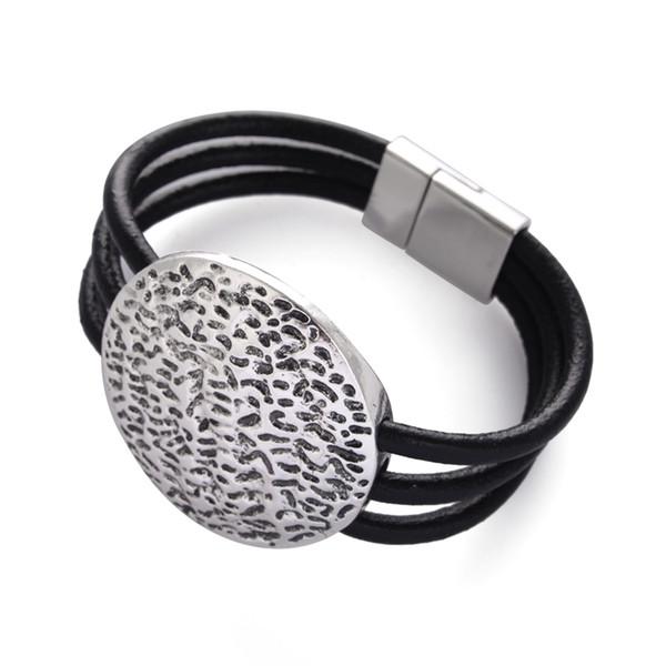 2016 neue Mode Legierung Runde Form schwarz Multi-Layer-Lederband Magnetverschluss Armbänder für Frauen und Männer