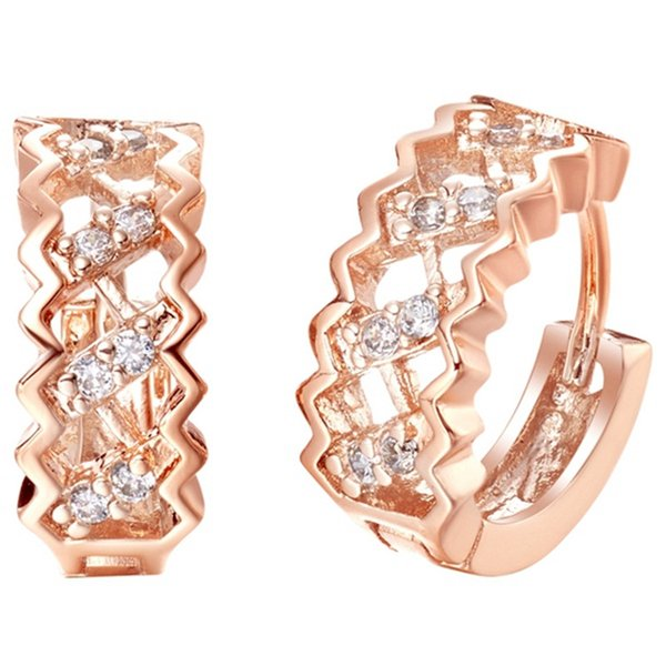 925 Sterling Silver Juwelen Crystals Earrings Square Shaped Rose Gold Plated Rhinestone Wedding Ear Cuff R320