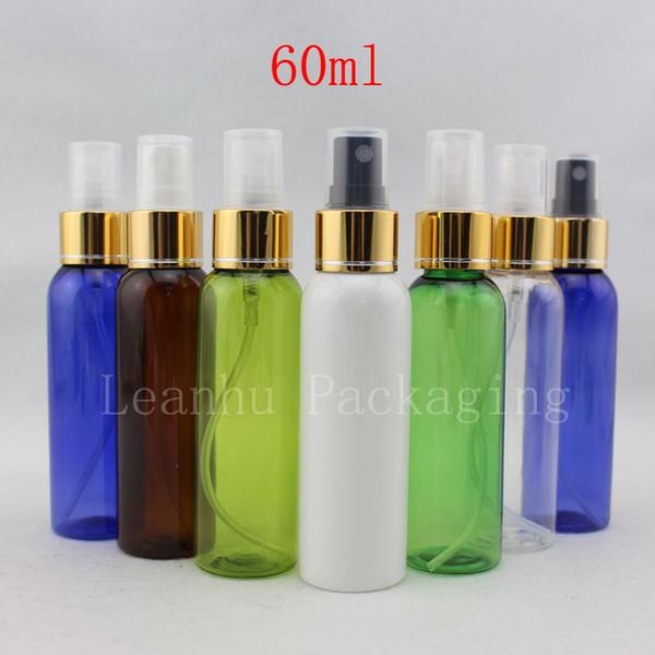 60ml vide conteneur de pompe de pulvérisation de brouillard d'or, la mise en maquillage 60cc rechargeable pulvérisation, aluminium fines bouteilles en plastique fin du pulvérisateur