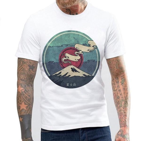 Mais novo Bonito Fujiyama Impresso T-shirt T-shirt Harajuku Branco T-Shirt Das Mulheres Kevin Durant Jersey Homens Vestido Camisa Algodão Dos Homens T-