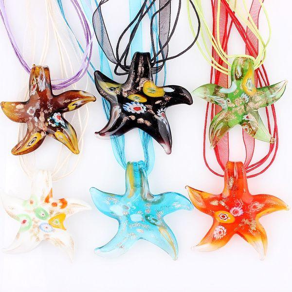 QianBei All'ingrosso 6 pz / lotto Multicolor Millefiori Starfish murano Lampwork Collane Del Pendente di Vetro Accessorio Dei Monili Gioielli artigianali fatti a mano