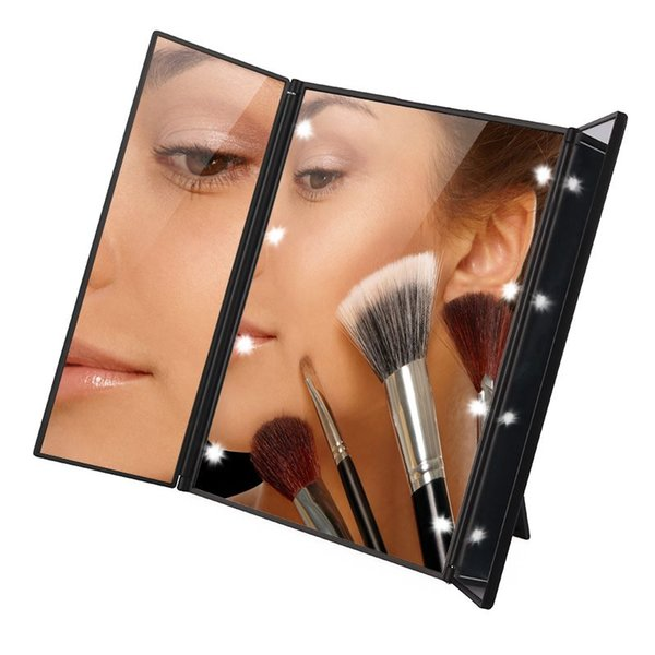 Tri-Fold Illuminated LED Lighted Vanity Mirror Makeup Wide View Portable Travel Pocket Compact Led Mirror P30 Christmas Gifts