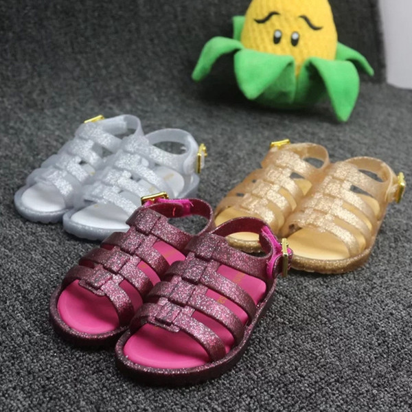 Gladiator Sandals For Kids Glitter Kids Shoes Shimmery Gladiator Boho Shoes for Girls Summer Beach Time Jelly Sandalias soft sandales
