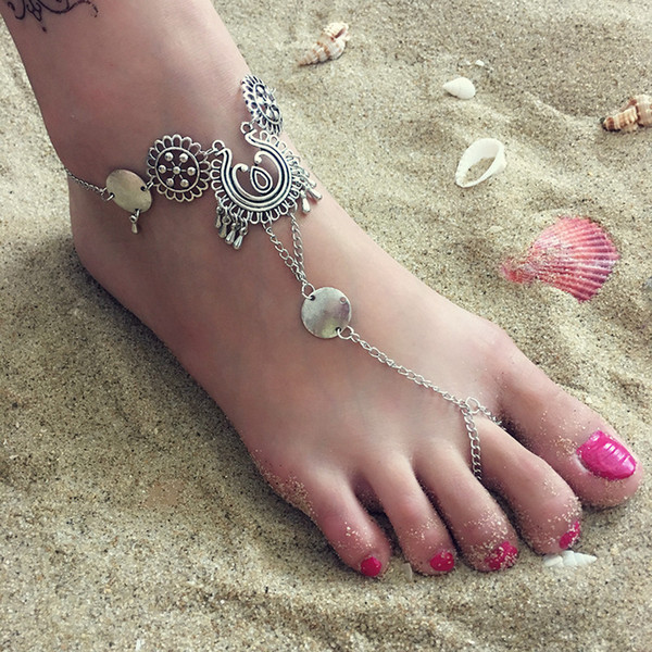 European and American fashion accessories simple flower hollowed out carved water drop tassel new foot chain foot ring