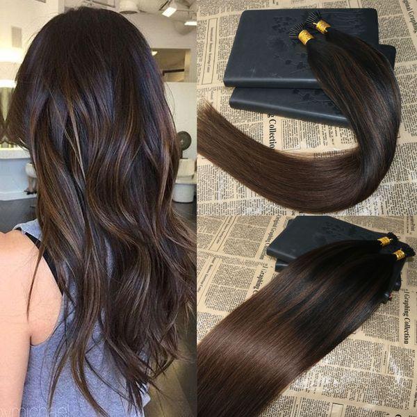 Ombre İnsan Saç Uzantıları I Tip Saç Balayaj # 2 # 5'e soluk Keratin Uçlu İnsan Saç Uzantıları Ön Gümrüklü I Tip 1g / str