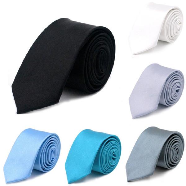 Black Slim Men Tie Solid 5*145cm Man Neck Ties Pure Bowties 2*57inch Skinny Necktie choker Neckwear Chaps Lad Tie neckcloth 500pcs/lot
