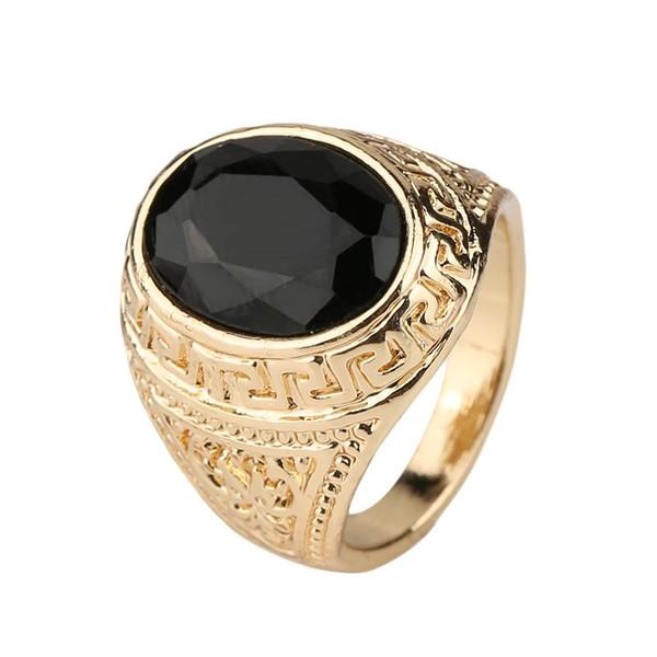 Черный драгоценные камни настоящее 18 к Золотое кольцо для мужчин ретро текстуры гравировка моделирование простой и щедрый Оптовая