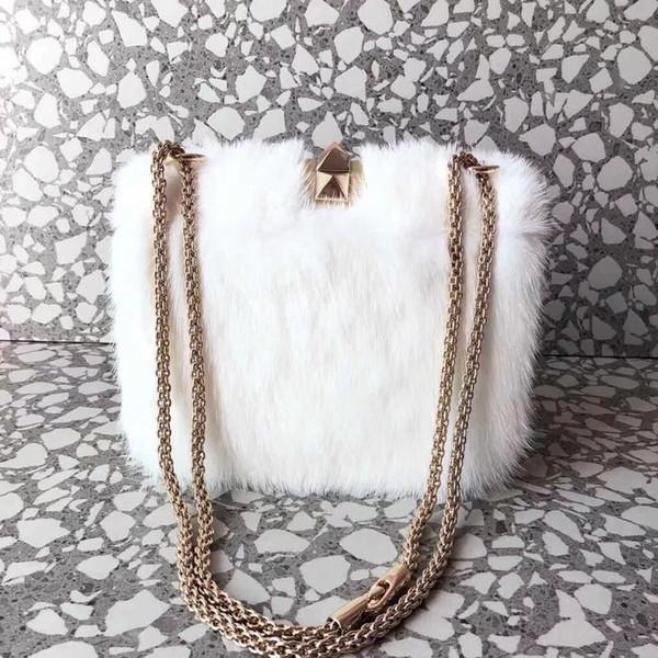 2018 new white color Mink hair rivets women handbag 7A quality famous designer garavani Rock Studs spike lady fashion chain shoulder bag