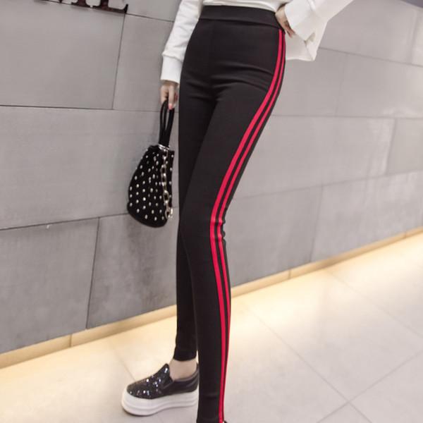 Casual Trousers For Women Red White Striped Elastic Pencil Pants Female Plus Size 2XL Black Skinny Leggings Pantalon Femme N518D