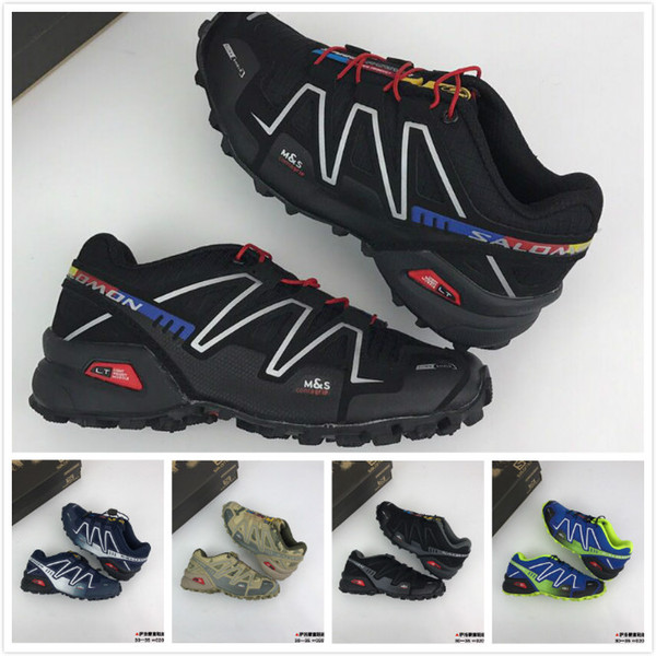 2019 Kids Solomon Speed Cross 3 CS III Running Shoes Black Silver Red Blue Children Outdoor SpeedCross 3s Hiking Toddler Sports Sneakers Girl Tennis