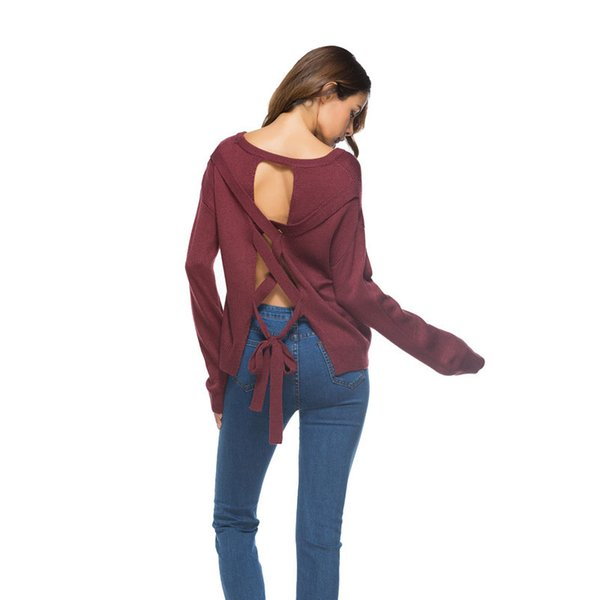 2018 Backless Winter Women Sweater Lace up knitted Women sleeve loose pullover female Soft warm autumn casual jumper