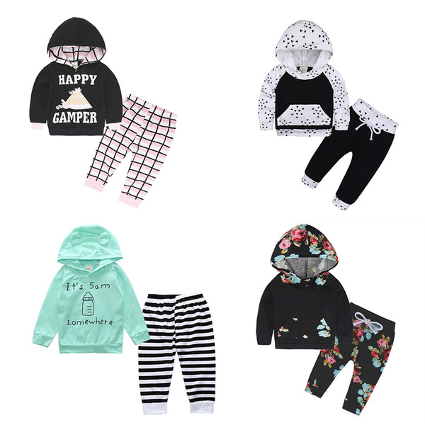 top popular Newborn Baby Hoodie Outfits Floral Tribal Monochrome Elk Camouflage Leopard Striped Bow Hooded Spring Autumn Boy Girl Clothes 0-24M 2021