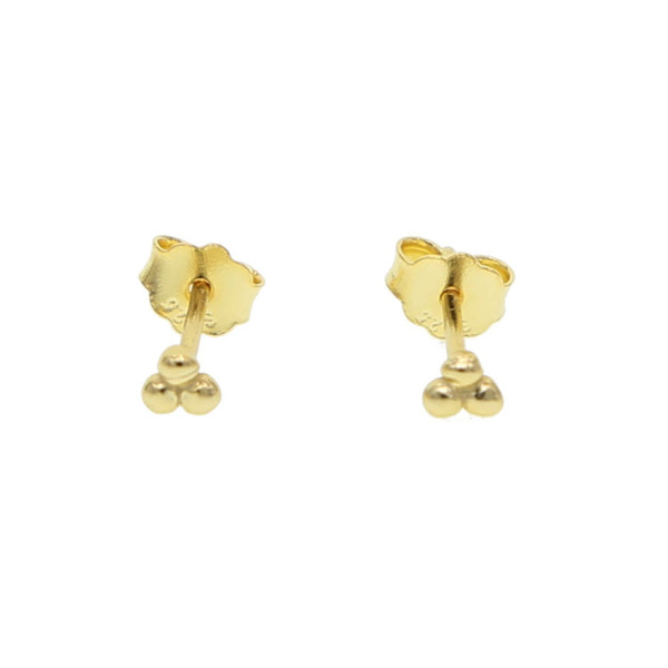 2018 Gold Color Ball stud Earrings for Women polish tiny clover leaf Earrings Simple fashion jewelry 925 silver full ear earing