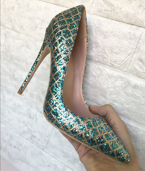2018 European and American fashion, new blue seven color sequins high heel shoes, thin and pointed shoes, sexy shallow wedding shoes 12cm