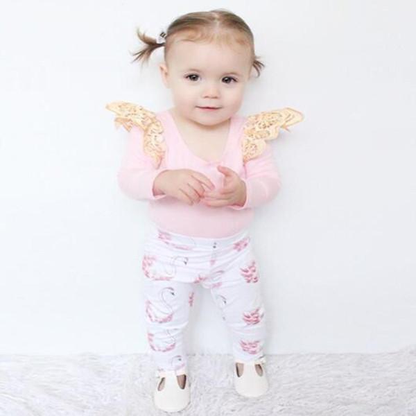 Ropa de niña de manga larga Pink Tops T-shirt + Leggings 2 unids Little Swan traje de algodón infantil niñas ropa mameluco del bebé conjuntos