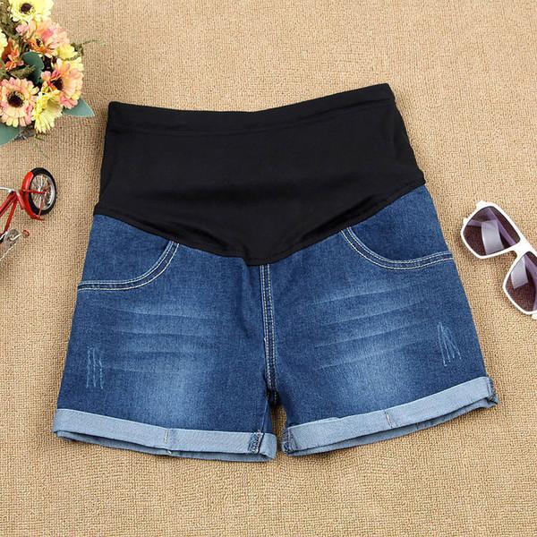 4186efd89 2017 Ripped Cintura elástica Denim vientre de maternidad pantalones cortos  de verano Jeans ropa para mujeres