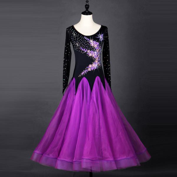 Vestito da prestazione da ballo da ballo standard da sala da ballo di balletto da ballo viola da ballo da sala da ballo donna