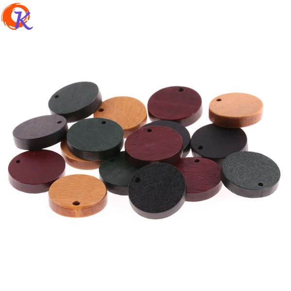 wholesale 200Pcs 21MM Jewelry Accessories/Wood Beads/Environmental Paint/Coin Shape/DIY/Hand Made/Earring Findings