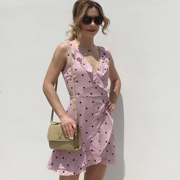 Womens Polka Dot Sexy Deep V-neck Chiffon Dresses For Girls Pink Print Fashion Summer Sleeveless Ruffles Short Dress XXL