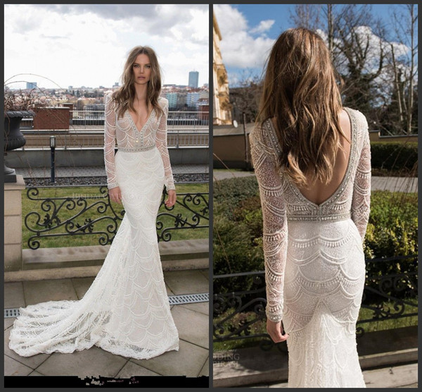 2018 New Long Sleeve Berta Mermaid Wedding Dresses Full Lace Crystal Backless Vestido De Noiva Bridal Gowns Sexy Deep V Neck Robe De Mariee