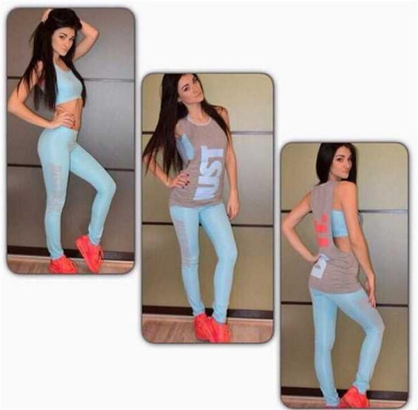 2019 Vendita Calda Moda Tre pezzi Vestito di stampa Top Gonna Pantaloni Set Sportwear Donna Abiti Due pezzi Vestito Sport Tuta FS5938