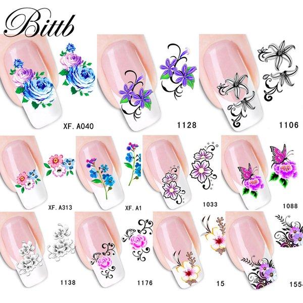 Bittb 4шт цветочный ногтей наклейки переноса воды ногтей наклейки татуировки ногтей наклейки советы украшения маникюр инструменты