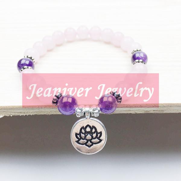 Jeaniver Healing Bracciale Love e Peace Bracciale Women's Yogi Fashion Bracciale Lotus per ragazza Natural Rose Pink Stone Bracelet