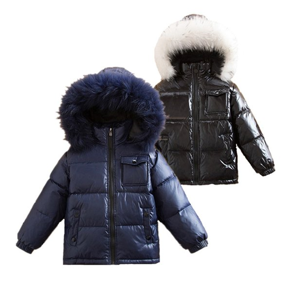 2018 kış kar giymek Büyük Kürk Yaka Kapşonlu Aşağı Parkas Boys Sıcak Kış Aşağı Ceketler Kızlar Açık 90% Beyaz Ördek Coats