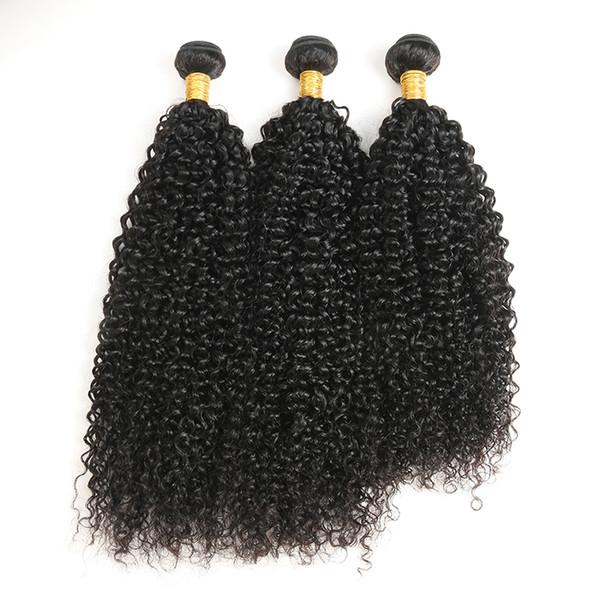 3 Paketler 100% Işlenmemiş Malezya Bakire Jerry Kıvırcık İnsan Saç Örgüleri Kıvırcık Saç Paketler Doğal Siyah Ücretsiz Kargo