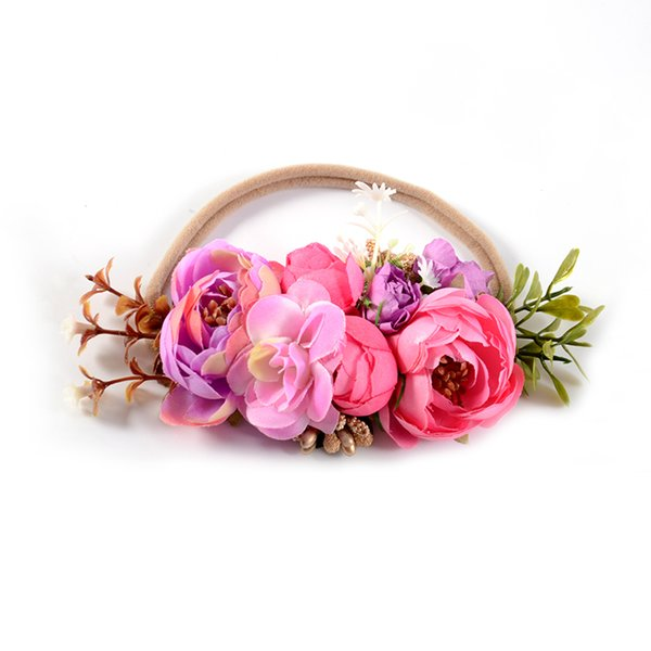 Handmade Black //Purple Flowers Vintage Baby//Toddler// Girl Headband