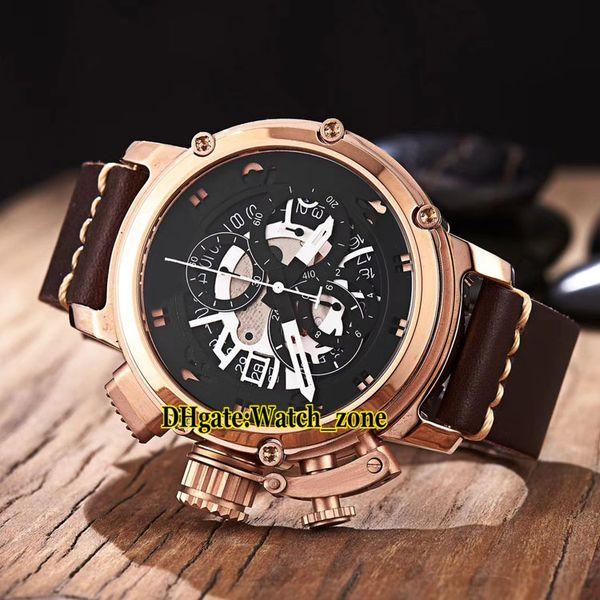 Новый U-51 46 мм Chimera Bronze 7474 BB Skeleton Черный циферблат Кварцевый хронограф Мужские часы из розового золота с кожаным ремешком Высокого качества Часы