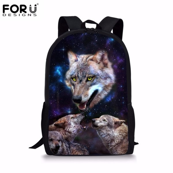 1a953ff744 FORUDESIGNS School Bags for Teenage Boys Cool 3D Animal Wolf Printing Men  Backpack Children s Schoolbags Book