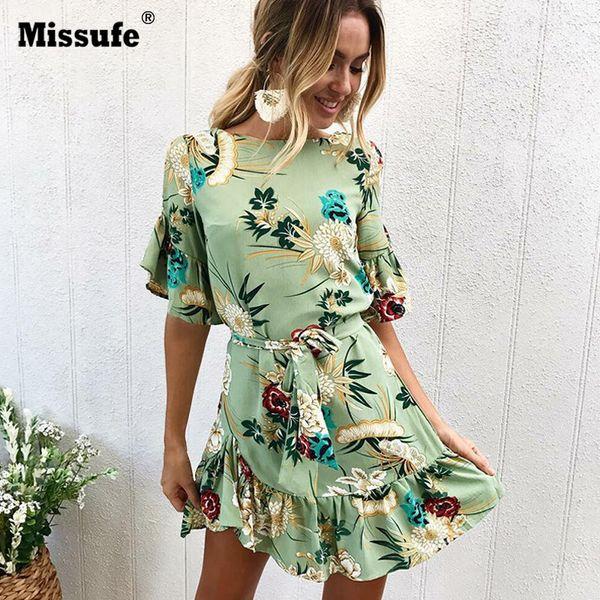 X907 Missufe O Neck Bandage Floral Printed Beach Dress For Women Flare Sleeve Irregular Boho Clothing Casual Mini 2018 Summer Dress