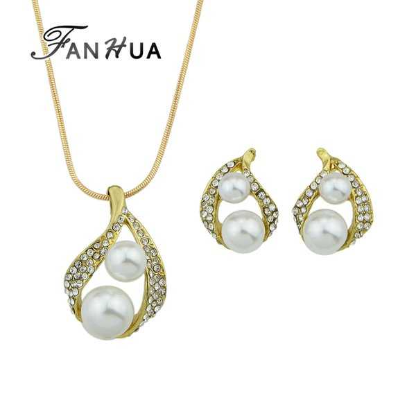 FANHUA Luxury Wedding Jewelry Sets Gold-Color Chain with Rhinestone Simulated-pearl Water Drop Pendant Necklace and Stud Earring