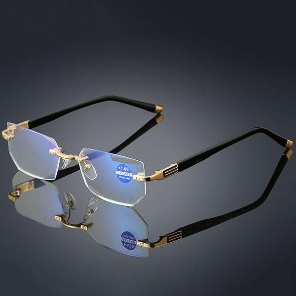 New Anti-blue light Reading Eyeglasses Presbyopic Spectacles Clear Glass Lens Unisex Rimless Glasses Frame of Glasses Strength +1.0 ~ +4.0