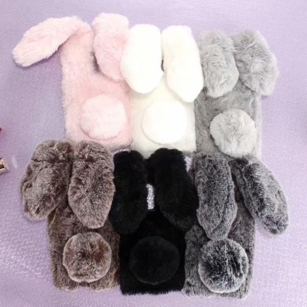 3D Rabbit Ear Genuine Hair Case For iPhone 11 2019 XR XS MAX X 8 7 6 SE 5 Galaxy A30 A50 Bling Diamond Fluffy Fur Cover Girl Soft TPU Cute