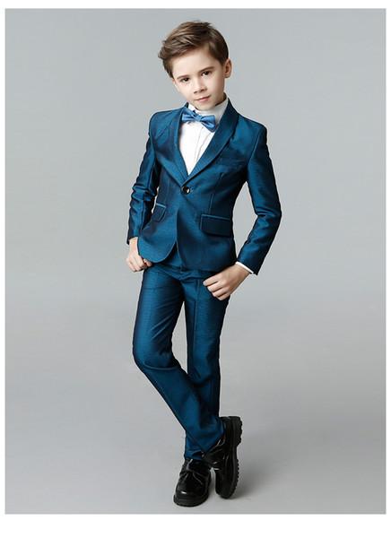 Cotton 5pcs/set Flower Boy Pure Color(Shirts+Blazer+Vest+Long Pants+Bowtie) Handsome Quality Winter Wedding /Performance/Stage Wearing Suits