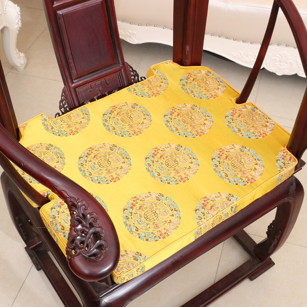 Classical Luxury Chinese Chair Seat Cushion Pad Home Decoration High End Thicken Silk Brocade Round-backed armchair Seating Cushion