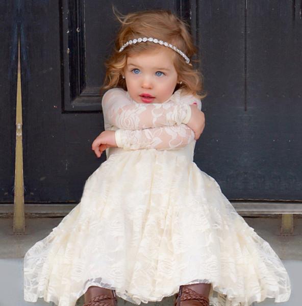 2018 New Beach Flower Girl Dresses White Ivory Boho First Communion Dress For Little Girl V-Neck Long Sleeve A-Line Cheap Kids Wedding Dress