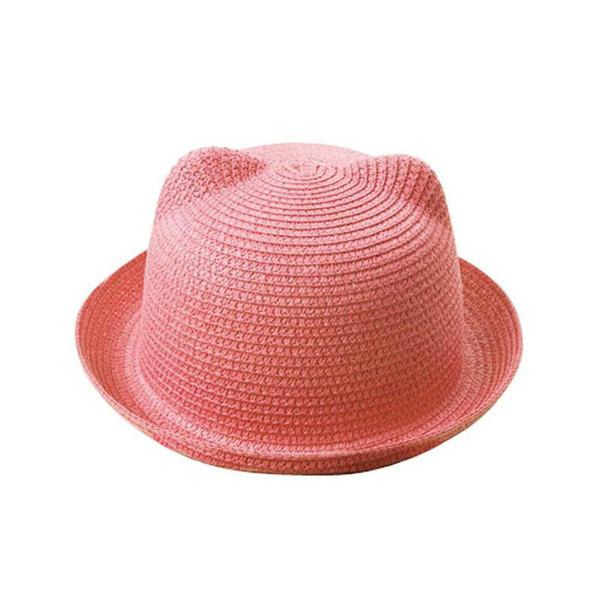 Senza Fretta 2018 New Sun Hats Summer Lovely Cat Ear Sun Hat Summer Hats Women / Kids Girls Boys Straw Caps Fashion Beach Cap Y18102210