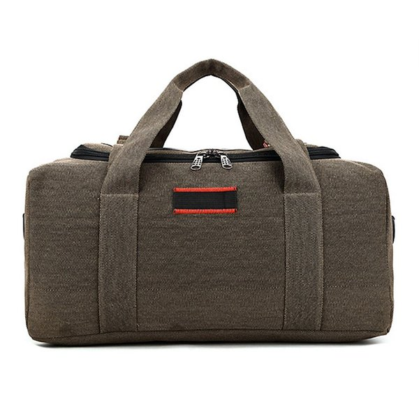 2018 NEW Large Capacity Canvas Travel Totes Men Bags Leather Traveling Luggage Handbag Tote Shoulder Bags Waterproof Bag