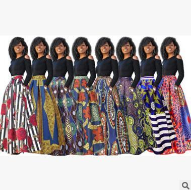 Explosions women printing dress sexy long skirt bare shoulders Umbrella skirt Thickened long sleeve version 8 color optional spring