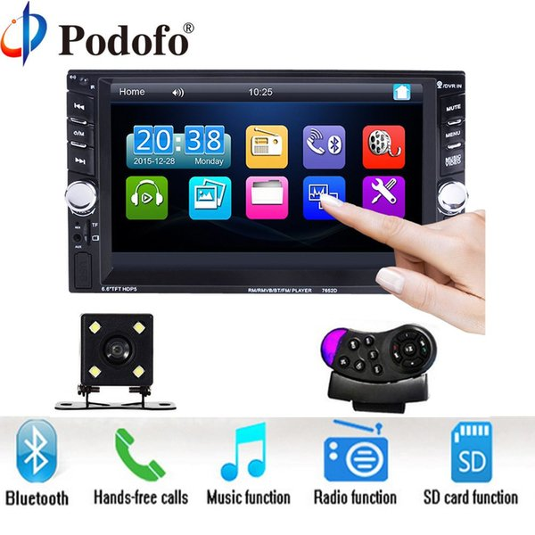 """Podofo 2 Din 6.6"""" LCD Touch screen Car audio 12v auto radio player with bluetooth hands free rear view camera autoradio Stereo"""