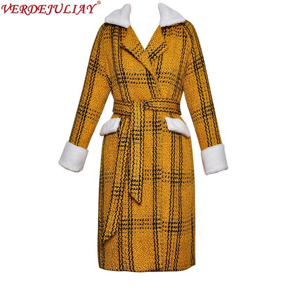 Großhandel Vintage Mäntel 2019 Frühjahr Mode Umlegekragen Gürtel Stiped Print Europäische Gelbe Frauen Luxus Lange Populäre Mantel Von Florence33,