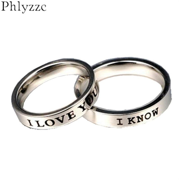 8005ad07fd whole sale4mm I Love You I Know Couple Rings Stainless Steel Lovers Ring  Valentine's Day Gift