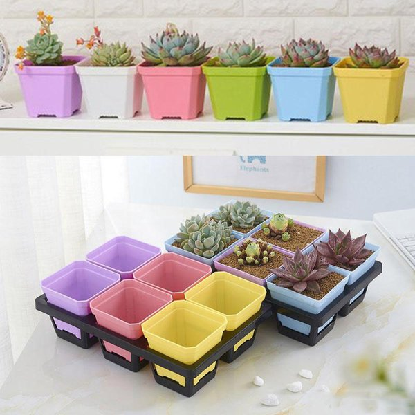 Wholesale High Quality thick Colorful Square mini Flower Pot charm planting for Home Garden Decoration home Chamber tables decor