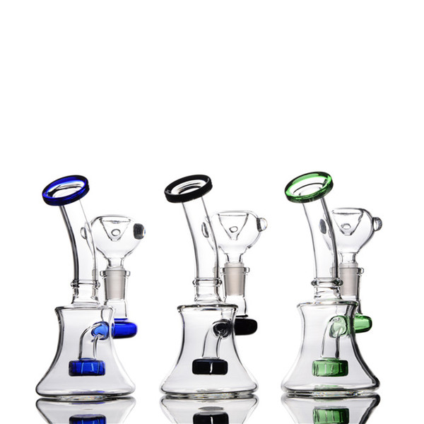 Clear Mini Pocket Glass Bongs Recycler Oil Rigs Glass water Pipes Smoking Pipe Free Shipping Bong Hookahs Shisha 14mm joint 6 inches tall