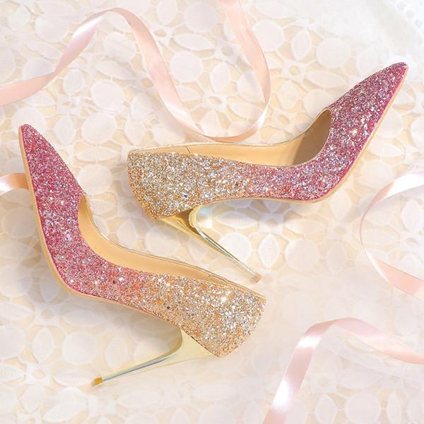Bingling Ombre Pailletten Hochzeit Schuhe für Braut Stiletto Ferse Prom Bankett High Heels Plus Größe spitz 3 Farben Brautschuhe